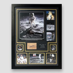 Buzz Aldrin Signed Apollo 11 Montage – Framed in Black Display