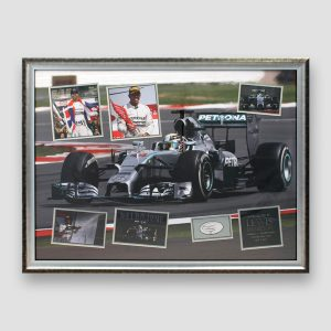 Lewis Hamilton Personally Signed and Mounted Framed Montage Display
