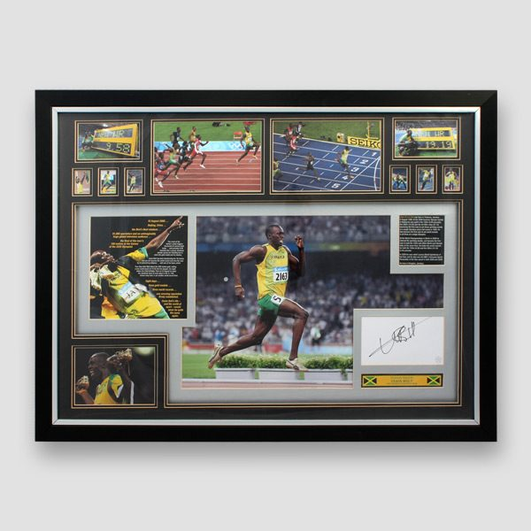 Usain-Bolt-Montage-with-Signed-Card