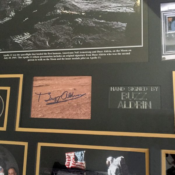 Buzz Aldrin Signed Apollo 11 Montage – Framed in White Display