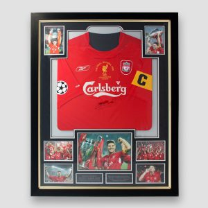 2005 Champions League final replica shirt signed by Steven Gerrard in a bespoke quality frame