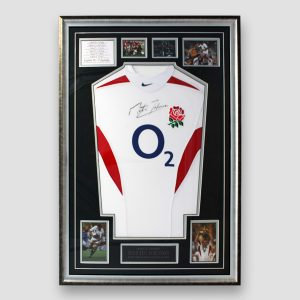 England Rugby 2003 World Cup shirt signed by Martin Johnson above O2 Logo
