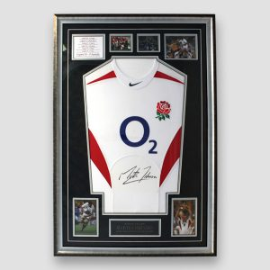 England Rugby 2003 World Cup shirt signed by Martin Johnson underneath O2 Logo