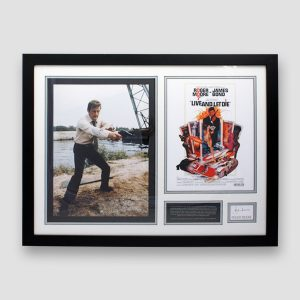 James Bond photo display personally signed by Roger Moore