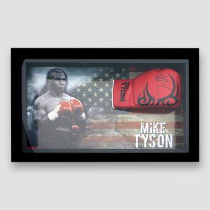 Mike Tyson Signed and Framed Red Tattoo Boxing Glove