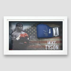 Mike Tyson Signed and Framed Blue Lonsdale Boxing Glove