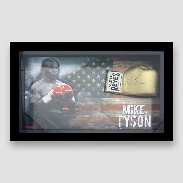 Mike Tyson Signed and Framed Gold Reyes Boxing Glove