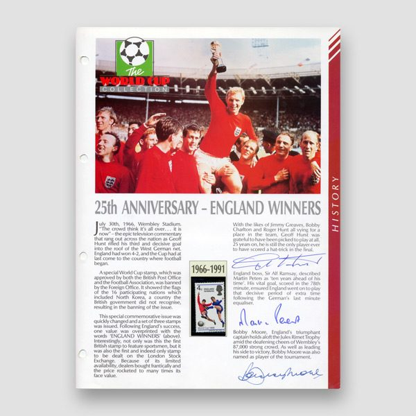 Autographed World Cup 1966 Football Masterfile Page, Bobby Moore, Geoff Hurst, Martin Peters