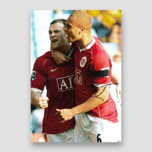 Wes Brown Signed Manchester United Action Photo Print MFM Sports Memorabilia