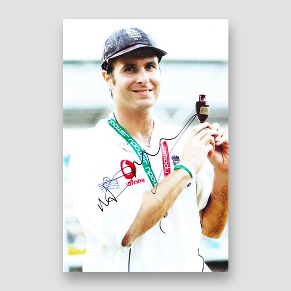 32-Michael-Vaughan-signed-photo-holding-Ashes-trophy
