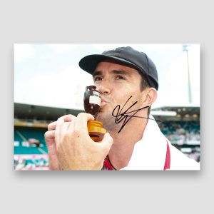 Kevin Pietersen Holding The Ashes Trophy Signed Photo Print