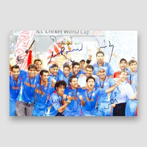 India World Cup 2011 Winners Celebration Signed Photo Print