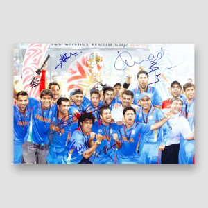 India World Cup 2011 Winners Celebration Signed Photo Print MFM Sports Memorabilia