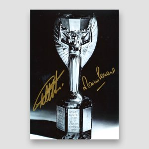 Autographed 1966 World Cup Photo Print, Geoff Hurst and Martin Peters