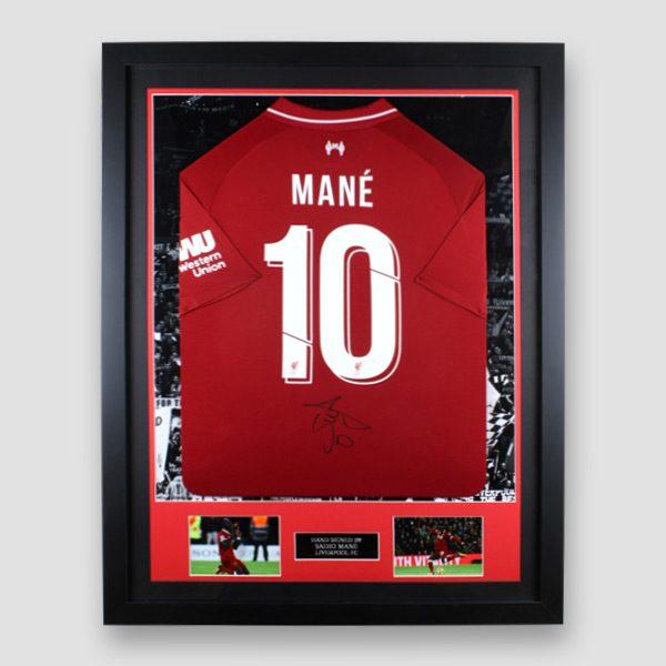 Framed-Liverpool-home-2018-19-shirt-signed-by-Sadio-Mane