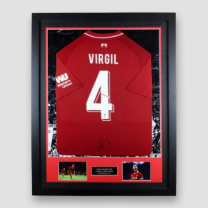Framed Liverpool home 2018/19 shirt signed by Virgil Van Dijk