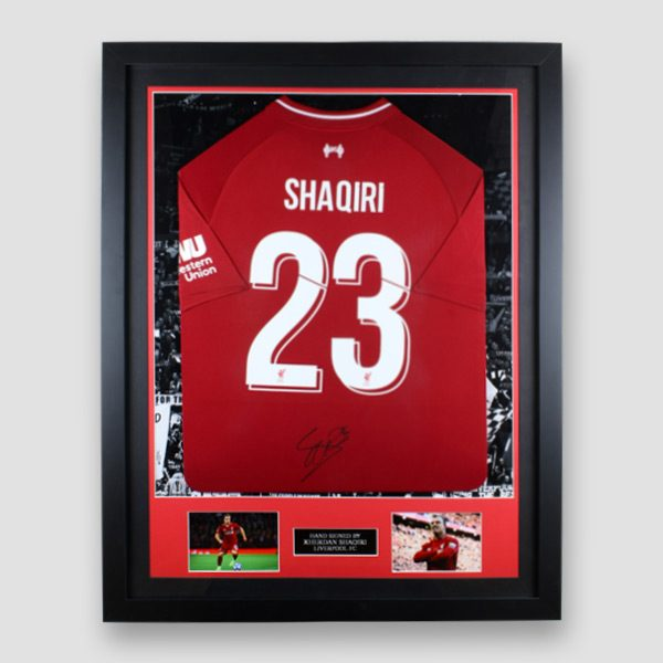 Framed Liverpool home 2018/19 shirt signed by Xherdan Shaqiri MFM Sports Memorabilia