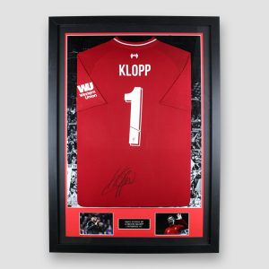 Framed Liverpool home 2018/19 shirt signed by Jürgen Klopp