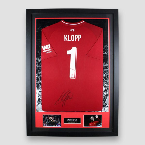 Liverpool-home-201819-shirt-signed-by-Jurgen-Klopp-framed