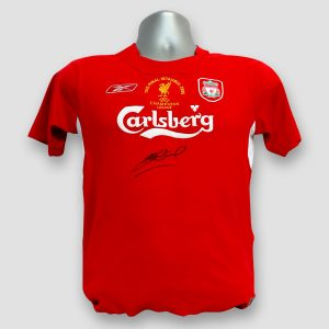 2005 Champions League Final Replica Shirt Signed by Steven Gerrard damaged stock