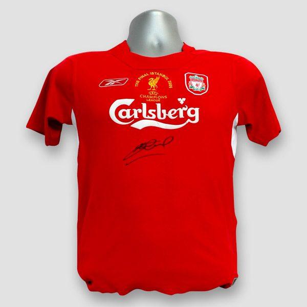 2005 Champions League Final Replica Shirt Signed by Steven Gerrard damaged stock