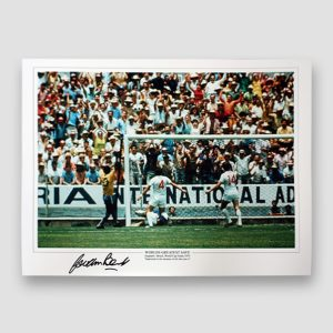 Gordon Banks Signed A3 Print, 1970 England v Brazil World Cup Finals 'Worlds Greatest Save' MFM Sports Memorabilia