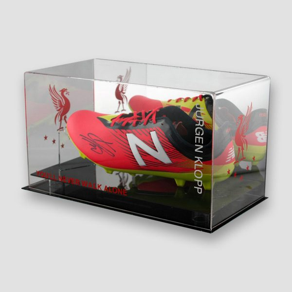 Jurgen-Klopp-signed-red-Football-boot-in-a-quality-display-left