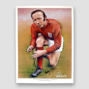 Nobby Stiles Signed Sketched A3 Print 'World Cup 66 Winners' MFM Sports Memorabilia