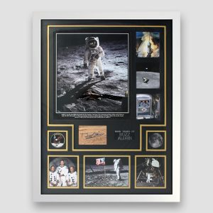 Buzz Aldrin Signed Apollo 11 Montage - Framed in White Display MFM Sports Memorabilia