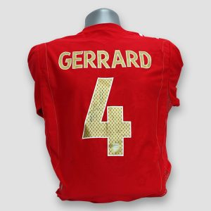 Liverpool FC shirt signed by Steven Gerrard (Faded Signature)