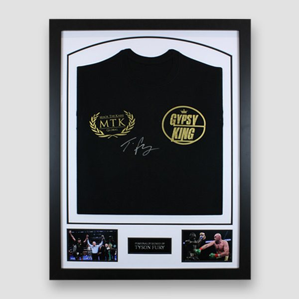 Tyson-Fury-signed-Black-&-gold-Gypsy-King-boxing-MTK-global-t-shirt-framed