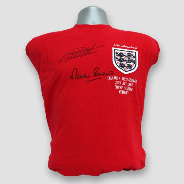 World Cup 66 Replica Score Draw Shirt Signed by the Goal Scorers, Sir Geoff Hurst & Martin Peters