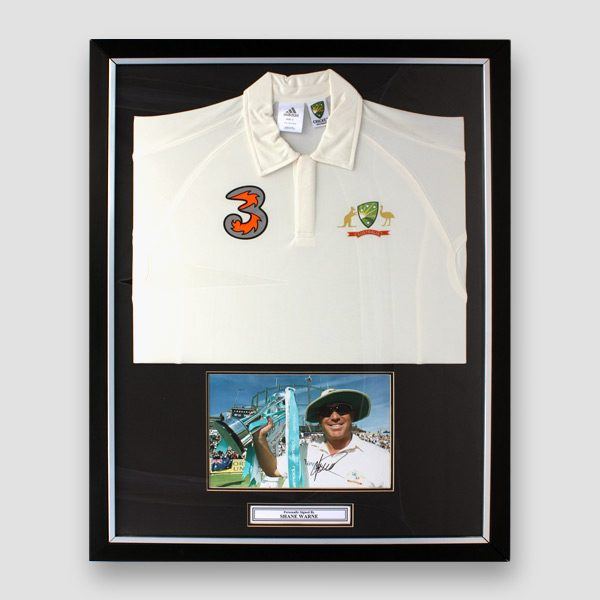 Shane-Warne-signed-picture,-framed-with-a-Australia-Cricket-team-Ashes-shirt-2006