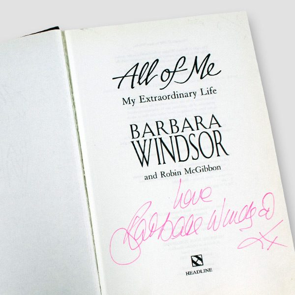 Dame Barbara Windsor signed Autobiography 'All of me' Hardback MFM Sports Memorabilia