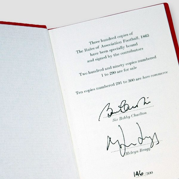 The Rules of Association Football 1863 Book Signed by Sir Bobby Charlton and Melvyn Bragg MFM Sports Memorabilia