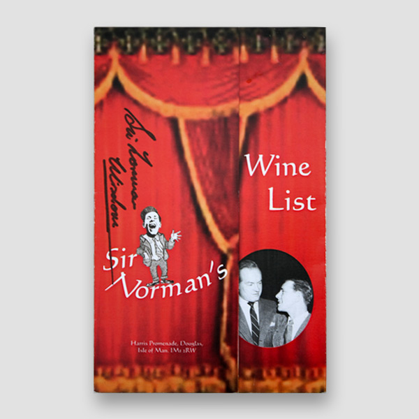Sir Norman Wisdom Signed Wine List from Sir Norman's Bar at Sefton Hotel, Isle of Man
