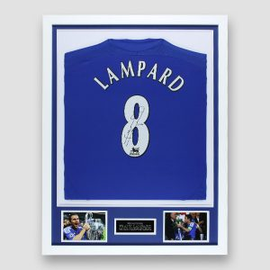 Chelsea Shirt Signed by Frank Lampard, Professionally Framed