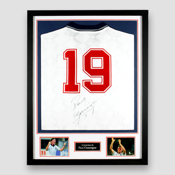 England Football Shirt Signed by Paul Gascoigne, Professionally Framed