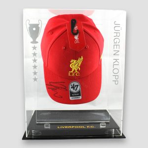 Red Liverpool Cap Personally Signed by Jurgen Klopp in Display Case