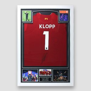 Liverpool Football Shirt signed by Jurgen Klopp In Frame (Klopp Number 1 )