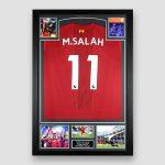 Liverpool-Football-Shirt-signed-by-Mo-Salah,-professionally-framed