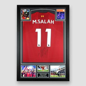 Liverpool Football Shirt Signed by Mo Salah, Professionally Framed