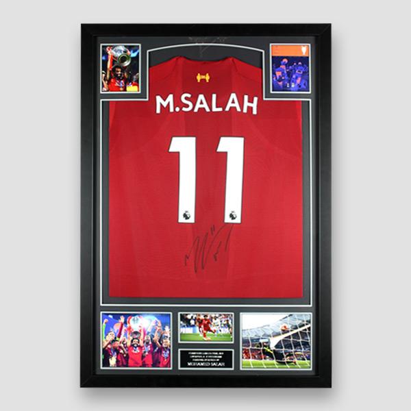 Liverpool Football Shirt Signed by Mo Salah, Professionally Framed