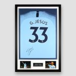 Manchester-City-Football-Shirt-signed-by-Gabriel-Jesus-,-professionally-framed