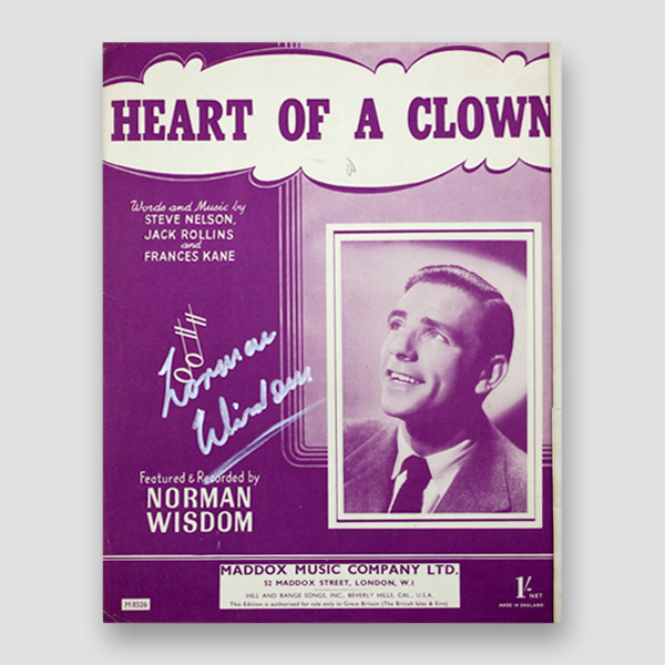Sir Norman Wisdom Signed Music Sheet 'Heart of a Clown'