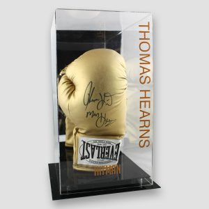 Thomas 'Hitman' Hearns Signed Gold Everlast Boxing Glove in Display Case