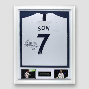 Tottenham Shirt Signed by Son Heung-Min, Professionally Framed MFM Sports Memorabilia