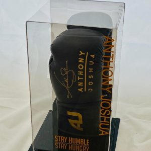 Anthony Joshua Hand Signed Black Boxing Glove In Display Case