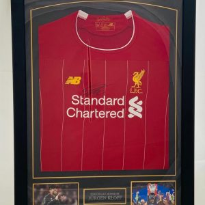 Liverpool Football Shirt signed by Jurgen Klopp In Frame