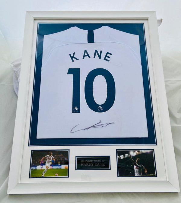 Tottenham Hotspurs Home Football  Shirt Signed by Harry Kane Professionally Framed